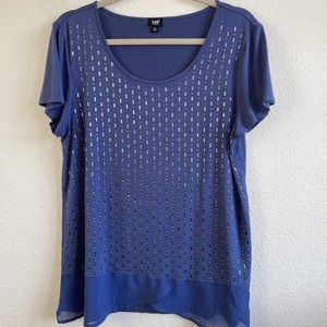 Lee Blue Top with Silver Bead Detail